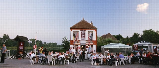 Cafe Gondree at Benouville by Pegaus Bridge over the Orne Canal - 60th anniversary of D Day celebrations 2004