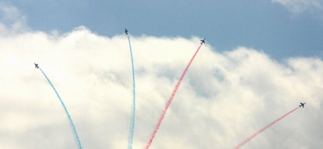 Aerobatics display by French jets, 60th anniversary of D Day, 2004