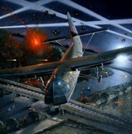 Horsa glider in Sicily - Galpin's Horsa descends past the Ponte Grande bridge in Operation Ladbroke