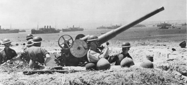 Tullio Marcon story - 76_40 anti-aircraft gun at Syracuse during Operation Husky, the Allied invasion of Sicily