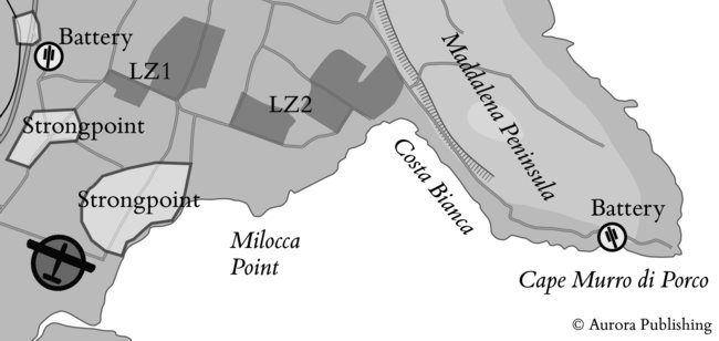 Map showing roughly where glider 35 landed in Operation Ladbroke, with Italian strongpoints between it and the LZs.