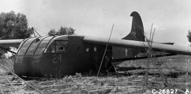 Operation Ladbroke - 2 South Staffords Waco glider 29 in Sicily in tomato field