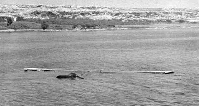 Gliders in Siciy - drowned Operation Ladbroke Waco glider floating off the Costa Bianca near Syracuse