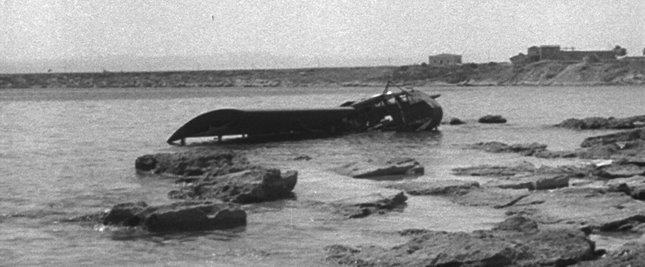Gliders in Sicily - drowned Operation Ladbroke Waco in sea near Terrauzza tuna factory.