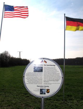 The newly unveiled plaque to John Kormann's actions in Operation Varsity