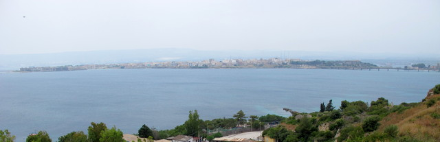 Augusta looking W across Gulf of Xifonia - glider Y came down in the sea off Augusta during Operation Ladbroke