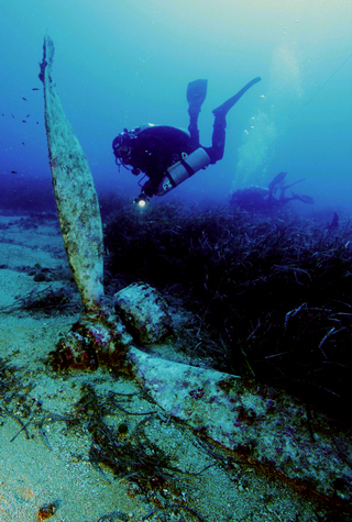 Divers dwarfed by one of the Wellington bomber's propellers.