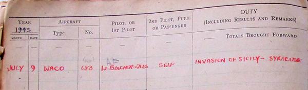 S_Sgt Victor Miller GP logbook 9 Jul 43 © V Miller