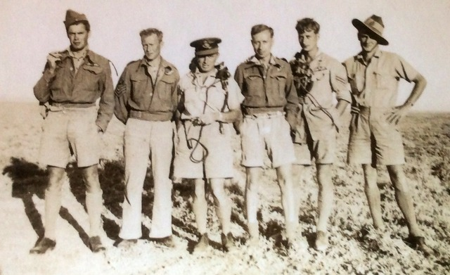 Most of the crew of HE 756 pose in the North African desert. From right to left: Ken Lucas, Len Ball, Jack Lammin, Jack Bowers, Jack Williams, 'Flash' Tweedle. Source: Ric Lucas